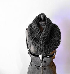 Neck Cowl  Knitted Charcoal Grey merino wool by threebirdsunite, $68.00