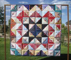 Folded Log Cabin Star Twin Bed/Throw Quilt by FuellingDesigns