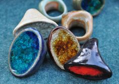 Ceramic and Glass Rings by Yoshimi Tanaka--gorgeous, love the blue especially