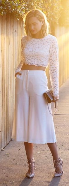 White Culottes with Lace crop top.  What else do you want gurl. #culottes