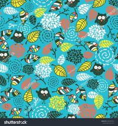 Cute seamless pattern with funny doodle owls. Birds in the night forest vector wallpaper for children decor. #owl #pattern #illustration #ekapanova #shutterstock #cute