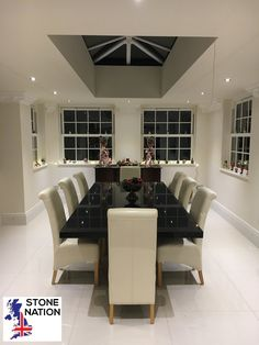 Slender and sleek granite dining table, although showing 8 chairs, suitable as a 12 seater. Made to exactly match the size of the skylight above. With a complementary dresser to match. Granite Dining Table, Dining Chairs, Dining Room, Timber Staircase, Granite Worktops, Contemporary Style, Modern, Skylight, Printing On Fabric