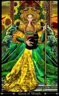 Queen of Rods - Tarot Illuminati par Erik Dunne Illuminati, Best Tarot Decks, Witchcraft Books, Mandala, Pagan Art, Tarot Card Meanings, Dibujos Cute, Fantasy, Oracle Cards