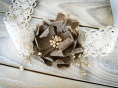 Rustic Chic burlap sash /  ivory wedding Hair Accessory  with  handmade burlap flower / alternative to  wreath, flower crown