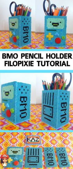 One of my first 3D Perler Beads creation is this BMO Pencil Holder made my own pattern after not finding any on the web. This tutorial/pattern created by me! Hope you enjoy!