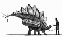 In the Dino old west, you're escorted to the other side via stegosaurus.