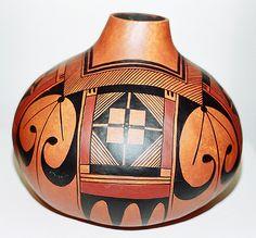 Hopi Eagle Gourd Pot by Robert Rivera    Abstract shapes
