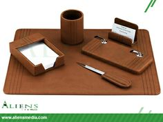 Classic, stylish and luxurious leather desk accessories