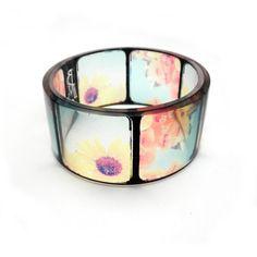 Chunky Resin Bangle Bracelet, Summer Flowers Instagram Inspired