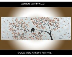 """Never Alone Landscape Painting Abstract birds Painting Modern Painting Texture Impasto Metallic Painting Silver Love Birds Painting """"Never Alone"""" by QiQiGallery, $185.00"""
