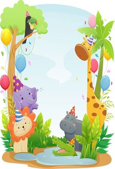 Picture of Background Illustration Featuring Cute Safari Animals Wearing Party Hats stock photo, images and stock photography. Jungle Theme Birthday, Jungle Party, Safari Party, Animal Birthday, Birthday Cartoon, Cartoon Zoo Animals, Safari Animals, Birthday Card Template, Birthday Cards