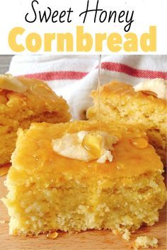 An easy recipe for sweet moist cornbread. The best cornbread ever! Made from scratch with ingredients already in your pantry. Sweet Moist Cornbread - An Easy, moist, sweet cornbread recipe that is made from scratch! The best corn bread you'll ever bake! Jiffy Cornbread Recipes, Homemade Cornbread, Cornbread Recipe From Scratch, Moist Honey Cornbread Recipe, Best Cornbread Pudding Recipe, Sweet Jiffy Cornbread, Southern Cornbread Recipe, Cornmeal Recipes, Cake