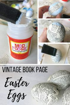 How to Upcycle Plastic Easter Eggs with Vintage Book Pages Wie Kunststoff Ostereier mit Vintage Buch Plastic Easter Eggs, Easter Egg Crafts, Easter Projects, Easter Ideas, Lustre Vintage, Diy Osterschmuck, Diy Crafts Vintage, Diy Easter Decorations, Easter Centerpiece