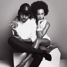 "Solange Knowles poses with producer Devonté Hynes for V magazine's ""Two of a Kind"" spread. V Magazine, Magazine Design, Solange Knowles, Black Love, Black And White, Alexa Chung, Her Style, Beyonce, Pop Culture"