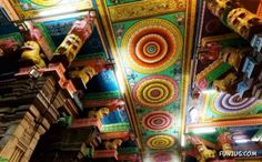 Roof Detail, Meenakshi Temple at Madurai, Tamil Nadu, India.