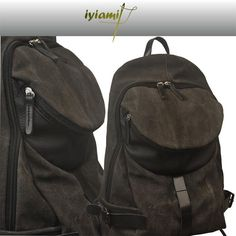 Italian  stonewashed canvas -leather backpack, Nota in grey-brown color by iyiamihandbags on Etsy