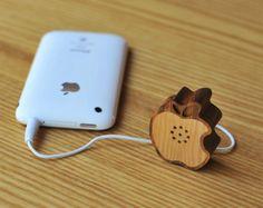 Tiny wooden Apple speaker by Motz.