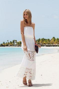 Shore - tuulavintage white crochet maxi skirt