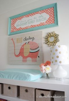 Coral and Teal Nursery with a Custom Made Name Cutout by Start at Home Decor