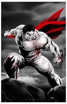 #Hulk #Fan #Art. (Hulk VS Superman) By: Damon Bowie. ÅWESOMENESS!!!™ ÅÅÅ+