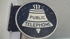 Old Double Sided Metal Public Telephone Sign - Dark Blue and White by WeathervaneHill on Etsy