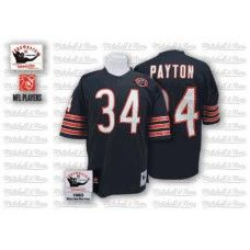 d1de0508f42 Mitchell And Ness Chicago Bears #34 Wlter Payton Blue with Bear Patch  Replica Throwback Jersey