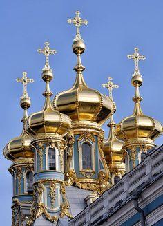 Domes of Katherine's Palace in Tsarskoye Selo, Saint Petersburg