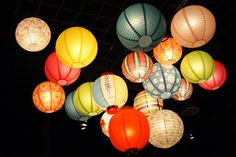 Bright and colourful Japanese lanterns