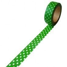 Taśma dekoracyjna papierowa washi zielona w białe kropki 15 mm x 10 m