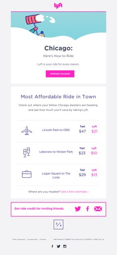 Lyft sent this email with the subject line: Tips on Getting Around - Read about this email and find more personalized emails at ReallyGoodEmails.com #app #personalized #retention