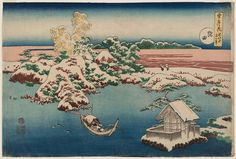 Katsushika Hokusai (Japanese, 1760–1849) Snow on the Sumida River (Sumida), from the series Snow, Moon and Flowers (Setsugekka) | Museum of Fine Arts, Boston