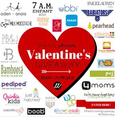 27 companies. $1200 in prizes. And one lucky winner! Little List is having a sweet Valentine's giveaway and guess who's part of it? {wink wink}  Enter today!