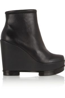 Robert Clergerie Sarla leather wedge boots  | NET-A-PORTER