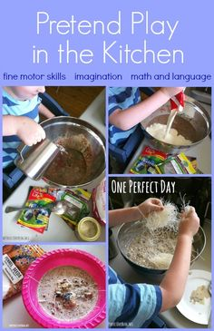 Fun and learning in the kitchen using old and expired ingredients for pretend play.