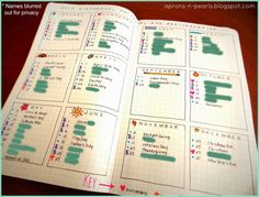 Bullet Journal | Aprons 'n Pearls -  Love her page for Birthdays, Anniversaries and Holidays
