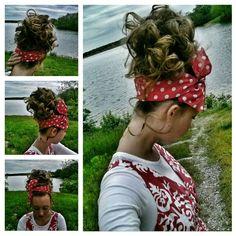 Messy curly bun with a big polka dot headband for Thursday night church! #Apostolichair #beautifulday #Red&White #holylocks