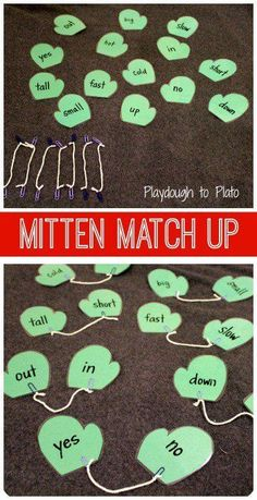 Mitten Match Up. Fun way for kids to practice opposites, rhyming words, math facts and more. {Playdough to Plato}