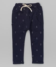 Look at this Blue Anchor Harem Pants - Infant, Toddler & Kids on #zulily today!