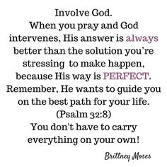 This is your daily reminder to stop carrying everything on your own when you have a perfect God who is on your side! Involve Him. He cares for you and every detail of your life ❤ | Brittney Moses