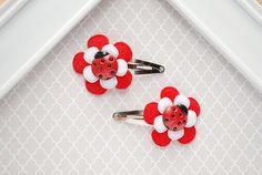 Ladybug Hair Clips Baby Snap Clip Little Girl Hair Accessory by SpunkyBunny