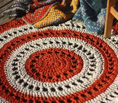 Crochet For Children: Crochet a Gorgeous Mandala Floor Rug. Love the granny squares with GREY.