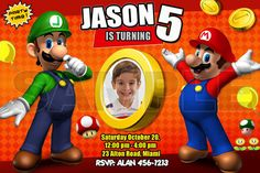 super mario brothers invitation birthday party on Etsy, $11.99