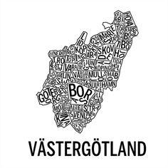 Västergötland i färgen svart Sweden, Supreme, Maps, Cards, Map