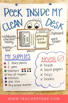 No More Messy Student Desks! Such simple tips for helping kids keep their work a… No More Messy Student Desks! Such simple tips for helping kids keep their work areas clean and neat. No more lost papers or missing supplies! 3rd Grade Classroom, Future Classroom, School Classroom, Classroom Ideas, Classroom Decoration Ideas, Teacher Desk Decorations, Clean Classroom, Classroom Supplies, Classroom Rules