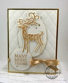 Ann uses Stampin& Up!& Dashing Deer stamp set to create a Christmas Thank You Card for Festive Friday A free step-by-step tutorial is included. Christmas Thank You, Homemade Christmas Cards, Stampin Up Christmas, Christmas Cards To Make, Christmas Makes, Christmas Deer, Xmas Cards, Handmade Christmas, Holiday Cards