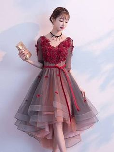 Prom Dresses Elegant, A-Line V-Neck Beading Flowers Homecoming Dress, Mermaid prom dresses, two piece prom gowns, sequin prom dresses & you name it - our 2020 prom collection has everything you need! Dresses Elegant, Pretty Dresses, Sexy Dresses, Beautiful Dresses, Dress Outfits, Evening Dresses, Short Dresses, Fashion Dresses, Girls Dresses