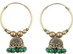 Waama Jewels Beautiful Green Pearl Gold Plated Jhumki For Women & Girls Pearl Brass Jhumki Earring
