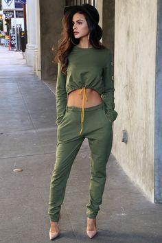 Ricki Brazil khaki trousers and khaki crop top