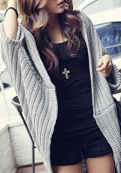 Chic 128 New Women's Spring Autumn Solid Wild Knitted Sweaters Women Batwing Sleeve Cardigans Female Knitted Waistcoat Teen Fashion, Love Fashion, Autumn Fashion, Style Fashion, Adidas, Batwing Sleeve, Long Sleeve, Dress To Impress, Knitwear