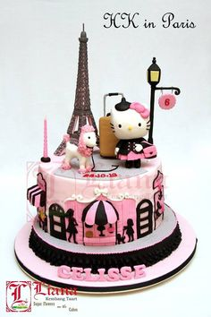 Hello kitty in Paris. Don't like hello kitty but this cake is so cute! Hello Kitty Torte, Bolo Da Hello Kitty, Hello Kitty Birthday, Pretty Cakes, Cute Cakes, Beautiful Cakes, Amazing Cakes, Yummy Cakes, Deco Cupcake